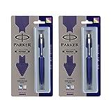 #3: Parker Classic 9000023059 Chrome Trim Ball Pen Navy Blue (Combo of 2)