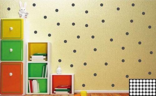 Kleb-drauf® - 40 Punkte/Grau - matt - Aufkleber zur Dekoration von Wänden, Glas, Fliesen und allen anderen glatten Oberflächen im Innenbereich; aus 19 Farben wählbar; in matt oder glänzend