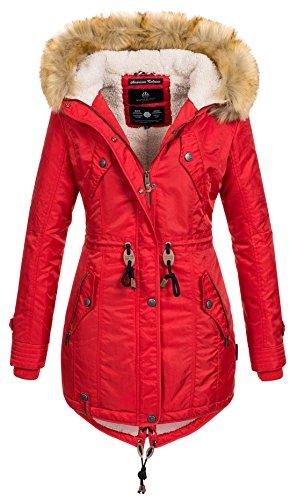 Navahoo warme Damen Winter Jacke Teddyfell Winterjacke Parka Mantel B399 [B399-Rot-Gr.S]