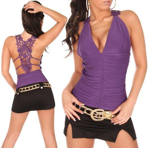 Top Shirt mit Stickerei und V-Ausschnitt Einheitsgröße 34, 36, 38 verschiedene Farben Lila