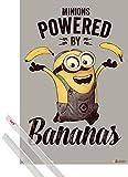 1art1 Poster + Hanger: Minions Poster (91x61 cm) Powered by Bananas Inklusive EIN Paar Posterleisten, Transparent