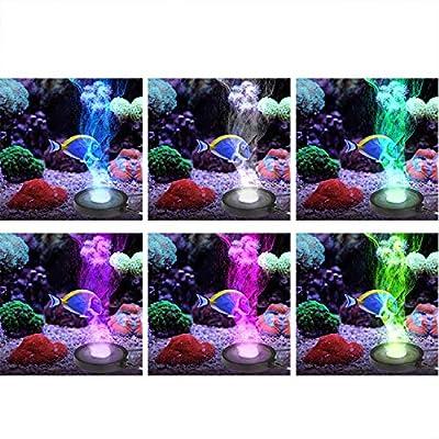 FTALGS Aquarium LED Beleuchtung Stumm 12 RGB LED Licht Scheibe Blase Fish Tank Teich Mineral Blase Air Stone Disk für Valentinstag, Hochzeit, Teich