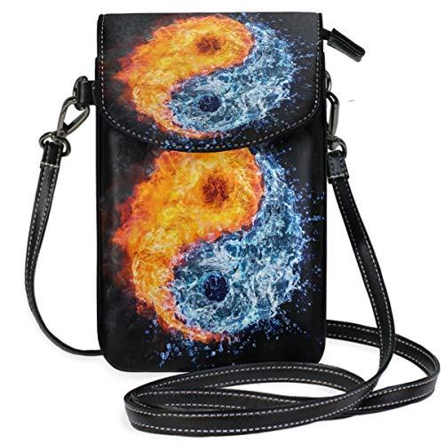 ZZKKO Asiatische japanische Yin Yang Mini-Umhängetasche, Handtasche, Handtasche, Ledertasche, für Damen, für Alltag, Reisen, Wandern, Camping