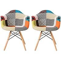 Jeu de 2 Fauteuil moderne en tissu de Patchwork Eames Style - LIVRAISON GRATUITE - Tapissées pieds en bois de hêtre. Chaise de salle à manger / Chaise de bureau / Chaise de salon