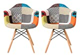 Set of 2 Patchwork Fabric Armchairs with Beech Wood Legs FREE SHIPPING – Living Room Chairs Dining Room Chairs Office Chairs Lounge Chairs