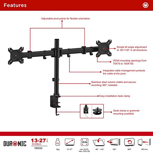 Duronic metal DM252 2x Twin LCD LED Desk Mount Monitor activate endure Bracket using Tilt and Swivel 10 Year guaranty modifiable Monitor activate Tilt 45 Swivel 180 Rotate 360 Monitor Arms Stands