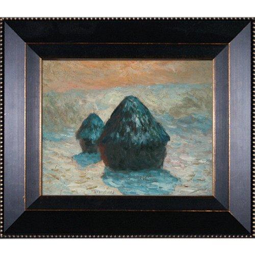 Ölgemälde, handbemalt, Nachbildung von Claude Monet, Schneeeffekt (Morgen), gerahmt, 8 x 10 cm - 8x10 Monet