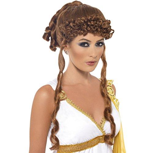 iechin Damenperücke braun Göttin Faschingsperücke Locken Hochsteckfrisur Helena Aphrodite Karnevalsperücke Antike Kostüm Haare (Erwachsene Göttin Braun Haarteil)