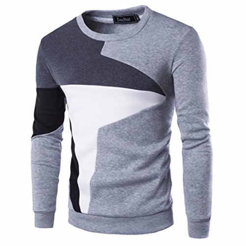 Men's Patchwork Slim Fit O-Neck Pullovers Casual Sweatshirt Lightgrey