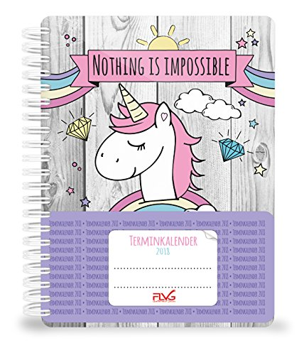 FLVG Diary/Date Book 2018UnicornDIN A5Calendar With A Cute, Sweet Unicorn, Rainbow and Clouds, Spiral Bound,Handmade by JamOnMedia [English Language Note Guaranteed]