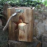 Holzlaterne mit Seilgriff H 23,5cm Deko Laterne Kerzenhalter Kerzenständer Lampe, Variante:Stern natur