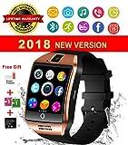 Smart Watch,Relojes Inteligentes Teléfonos Inteligentes Bluetooth Smart Watch Reloj Inteligente Hombre Mujer Niño Reloj Deportivo Reloj Camara Soporte SIM / TF para Android/IOS (Q18-golden)