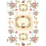 Accademia del Decoupage 32 x 45 cm papel de arroz para lámpara, diseño de flores de anillos de boda, Rosa