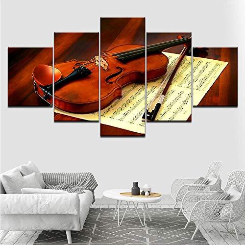 ruckt Moderne Wandkunst Leinwand 5 Panel Violine Und Musik Score Wohnkultur Wohnzimmer Malerei Modulare Bilder-40X60/80/100Cm,With Frame ()