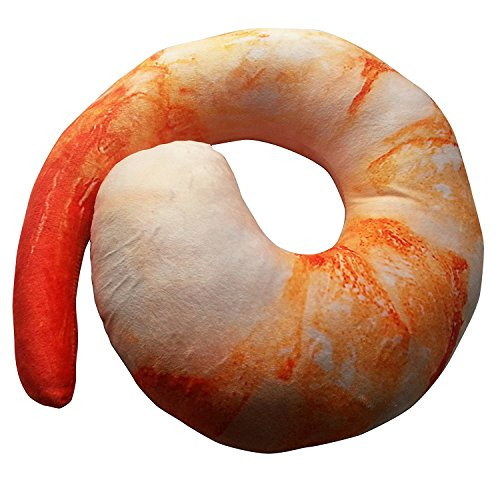 PeiGee Creative Shrimp Meat U Shaped Neck Pillow Throw Pillow Cushion Plush Toy