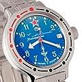 Vostok Amphibian 420289 2416B - Reloj de pulsera automático para hombre (sumergible a 200m), diseño con estilo militar ruso, color azul de VOSTOK