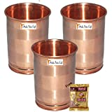 Set Of 3 - Prisha India Craft ® DIWALI GIFT Drinking Copper Glass Tumbler Handmade Water Glasses - Traveller's Copper Mug For Ayurveda Benefits - Copper Cup Diwali Gift With Handmade Wooden Keyring And Copper Cleaning Powder