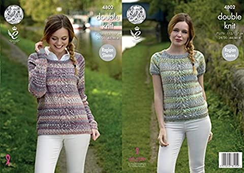 King Cole 4802 Knitting Pattern Womens Raglan Sleeve Sweaters in King Cole Drifter DK