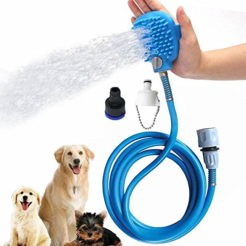 Pet Shower Sprayer, Dog Bathing Tool Multi-Functional Bath Hose Sprayer and Scrubber in One, Dog Cat Grooming Bath Massager Adjustable Handheld Sprayer Shampoo Brush Indoor and Outdoor Use