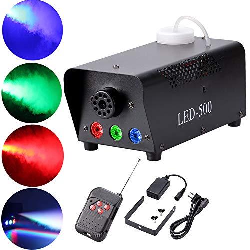 Top-Uking Macchina del fumo 500W RGB LED Fogger Luci da Palco Effetto Discoteca Luci Macchina della nebbia per Natale Bar feste DJ Club Matrimonio Compleanno(con Telecomando)