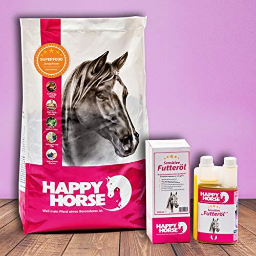 Happy Horse Moringa Freitzeit 14 kg + 500 ml Sensitive Futteröl - Vitalstoffmüsli mit super geringer Fütterungsmenge + einzigartige Ölmischung - nur 15 ml pro Tag -