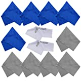 Microfiber Cleaning Cloths - 10 Colorful Cloths and 2 White ECO-FUSED Cloths - Ideal for Cleaning Glasses, Spectacles, Camera Lenses, iPad, Tablets, Phones, iPhone, Android Phones, LCD Screens and Other Delicate Surfaces (Blue / Grey)
