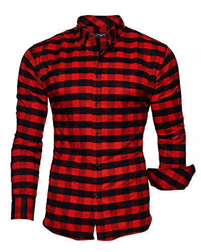 KAYHAN Homme Chemise Slim Fit Repassage facile, Manches Longues Modell - Chicago Rouge