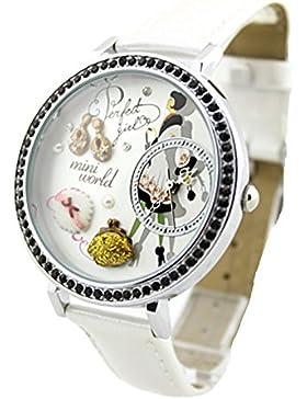 Mode Strass Lederriemen Quarz Armbanduhr Für Damen, Weiß