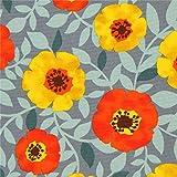 Cosmo Graues Wachstuch mit Blüten