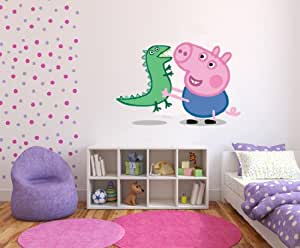 autocollant mural en vinyle peppa pig et dinosaure pour chambre d 39 enfant cuisine. Black Bedroom Furniture Sets. Home Design Ideas