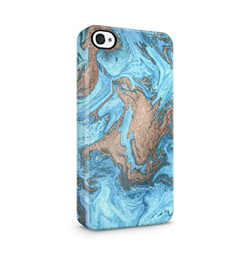 Rough Sapphire Marble Stone Print Apple iPhone 5 , iPhone 5S , iPhone SE Snap-On Hard Plastic Protective Shell Case Cover Custodia Water Gold