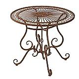 Gartentisch aus Eisen, antik-braun, 85 cm ø