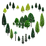 OrgMemory 29pcs Modellbau Bäume (4 -16 cm), h0 Bäume, Tabletop Gelände, Spur n, Mischwald Bäume mit No Stände, Die Bäume Stehen Nicht Selbständig