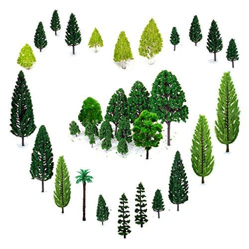 29pcs Gemischtes Modellbau Bäume (4 -16 cm), OrgMemory h0 Bäume, Tabletop Gelände, Schleich Wald, Faller h0, Modellbau Gelände mit No Stände, Die Bäume stehen nicht selbständig