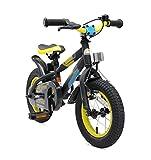 Bikestar Premium Sicherheits Kinderfahrrad 12 Zoll für Mädchen und Jungen ab 3-4 Jahre ★ 12er Kinderrad Mountainbike ★ Fahrrad für Kinder Schwarz & Gelbgrün