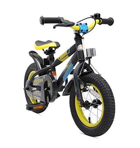 BIKESTAR Kinderfahrrad 12 Zoll für Mädchen und Jungen ab 3-4 Jahre | 12er Kinderrad Mountainbike | Fahrrad für Kinder Schwarz & Gelb