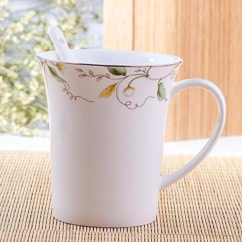 Bone China Taza de cerámica mug tazón de agua Bone china creativa copa de leche de la taza de café con una cuchara tazas de cerámica
