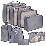 Koffer Organizer Set 8-teilig unibelin Reise Kleidertaschen Reisen Organizer Packing Cubes Aufbewahrungstasche Kleidertaschen-Set Gepäck Organizer für Kleidung Kosmetik Schuhbeutel (Grau)