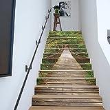 DIY Renovierung Wandaufkleber Kreative Dekoration 3D Wald Hängebrücke Landschaft Treppen Aufkleber 13 Stücke (39 4 Zoll × 7 Zoll)