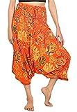 Lofbaz Damen Haremshose Jumpsuit Elefantendruck 2 Orange XL