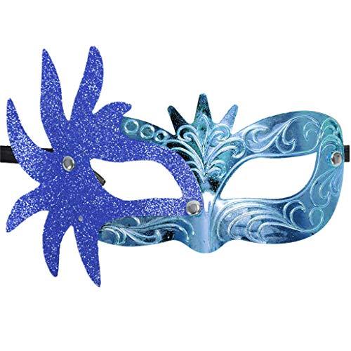 iYmitz Karneval Maske Damen Herren Ganzjahresartikel Venezianische Maskerade Masken Fasching Partys Kostüm Festival Party Maskes(Blau,One size)
