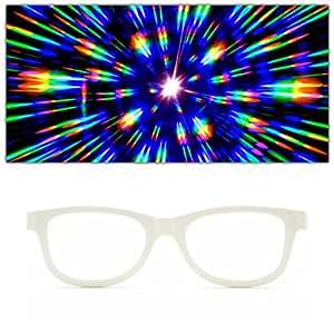 GloFX White Standard Diffraction Glasses - Rave Glasses - Kaleidoscope 3D Prism Firework
