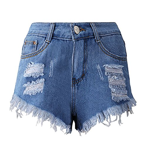 ZKOO Damen Denim Loch Kurz Jeans Hot Pants Hochbund Jeans Shorts Unregelmäßigen Schneiden Denim Shorts XL