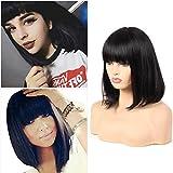 Peluca de pelo humano para mujer negra, pelo corto brasileño, pelo liso con brazaletes, pelo Remy color natural