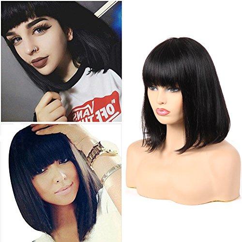 Morichy capelli umani parrucche per nero-brazilian corto bob parrucca capelli lisci parrucche con frangia remy hair natural color