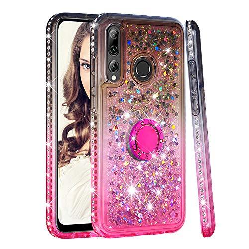 Artfeel Bling Glitzer Flüssigkeit Hülle für Huawei P30 Lite/Huawei Nova 4E,Glänzend Diamant Strass Fließend Treibsand Handyhülle mit Ring Ständer Farbverlauf Dünn Weich Silikon Hülle-Grau Rosa -