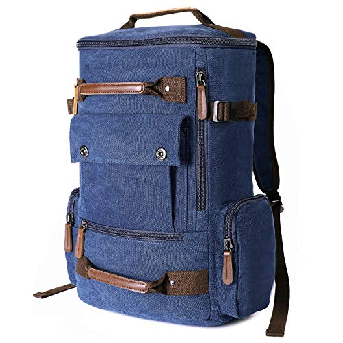"""RUcksack Vintage Canvas Herren Seesack Rucksack Reisetasche Laptoptasche 17"""" 3 Blau"""
