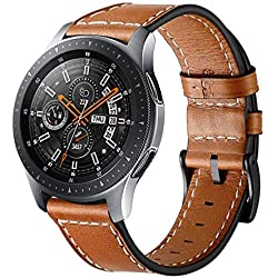 Correa de repuesto Circle compatible con Galaxy Watch 46 mm correa de reloj, correa de cuero genuino de 22 mm de acero inoxidable corchete para Galaxy Watch SM-800 / SM-R805