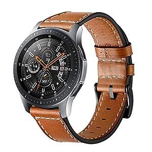 Aimtel Kompatibel mit Samsung Galaxy Watch 46mm Armband, 22mm Lederband mit Edelstahlschnalle Ersatzband für Samsung Galaxy Watch 46mm (Braun)