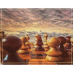 ZHWL6688 Cielo Rojo, Nubes Blancas, Tablero de ajedrez marrón, ajedrez marrón y Amarillo Impresión Digital 3D